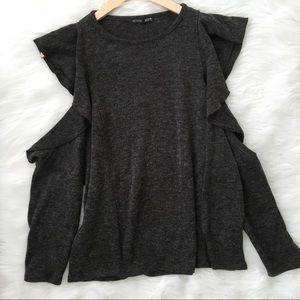 Zara Grey Could Shoulder Long Sleeve Shirt